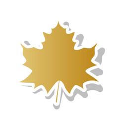 maple leaf sign golden gradient icon with vector image