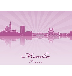 Marseilles skyline in purple radiant orchid vector image
