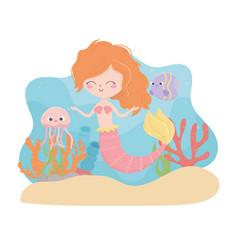 mermaid jellyfish fish coral sand cartoon under vector image