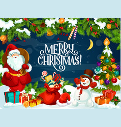 merry christmas poster with santa claus and gifts vector image