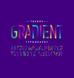 Modern gradient font alphabet and numbers vector