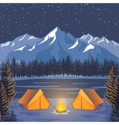 Nature adventure poster night landscape vector