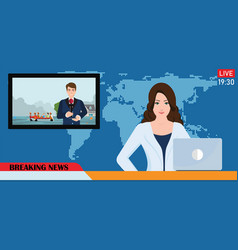 News anchor broadcasting the news vector