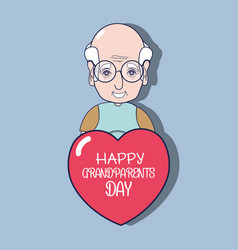 old man with glasses and heart with message vector image