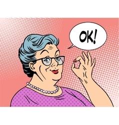 Old woman grandma okay gesture vector