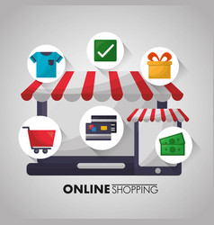 Online shopping card vector