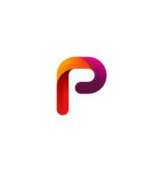 p colorful letter logo icon design vector image