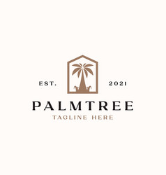 palm tree logo template isolated in white vector image