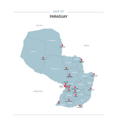 paraguay map with red pin vector image