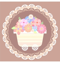 Pastel cute flower cart with lace background vector