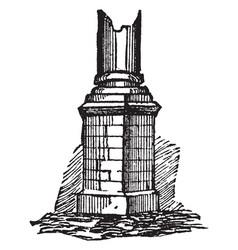 Pedestal mounted vintage engraving vector
