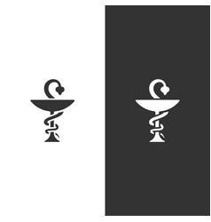 Pharmacy icon on black and white background snake vector