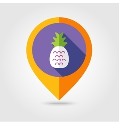 Pineapple flat mapping pin icon with long shadow vector image