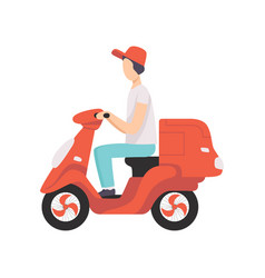 red delivery motor bike with courier express vector image