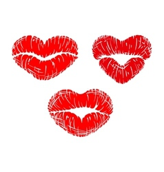 Red lip prints with heart shapes vector image