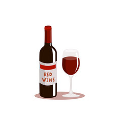 red wine and glass isolated on white background vector image