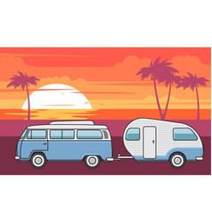 Retro van with camper trailer and evening sea vector