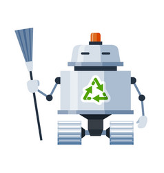 robot janitor holding broom cartoon icon android vector image