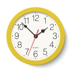 Round wall clock with yellow body isolated vector