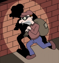running thief with a bag vector image