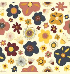 Scandinavian flat doodle flowers seamless vector