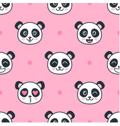 seamless pattern with cartoon funny panda faces vector image