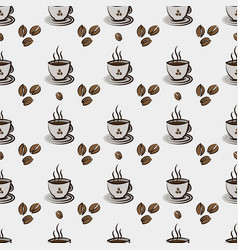 Seamless pattern with cup coffee and vector