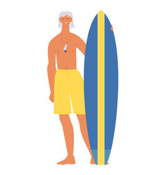 Senior men with stand up paddle board flat vector