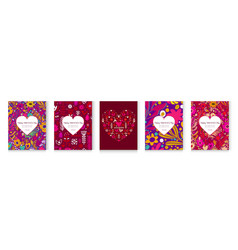 set flowers postcards with abstract flowers vector image
