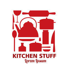 Set kitchen stuff isolated template for vector