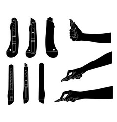 set of different utility knives vector image