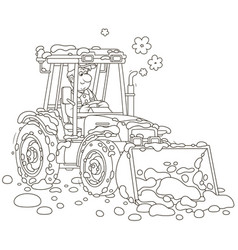 Small tractor grader cleaning snow vector