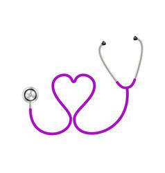 Stethoscope in shape heart in purple design vector