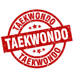 Taekwondo round red grunge stamp vector