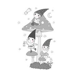 Three cute cartoon gnomes forest elves fairy vector
