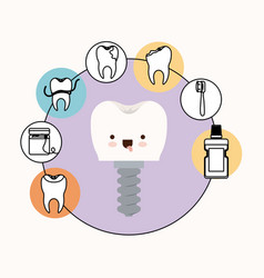 Tooth implant with screw dental care kawaii vector