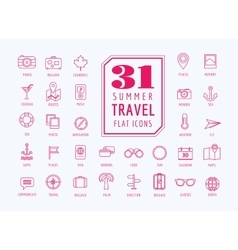 Travel icons set Sea rout and holiday vector