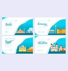 Travel information brochure card set landscape vector