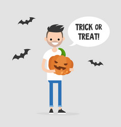 trick or treat halloween young character holding vector image