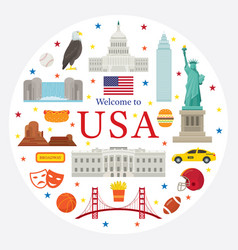United states america usa objects label vector