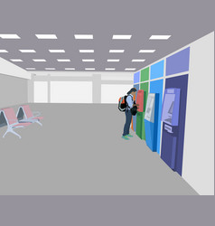 Using an atm in the airport passenger room vector