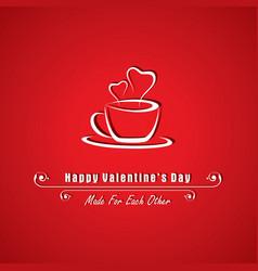 valentine card with coffee mug vector image