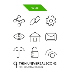 Web administration thin line icon set vector image