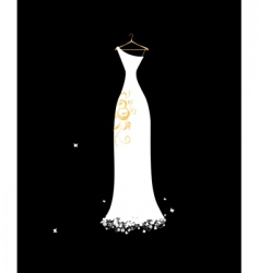 wedding dress white on hangers vector image