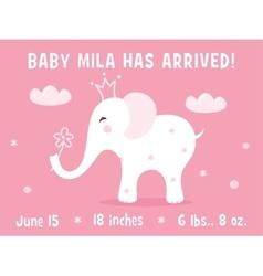 White baelephant birth announcement card vector