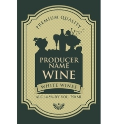 Wine label with silhouette a still life vector