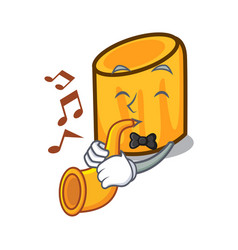 With trumpet rigatoni mascot cartoon style vector