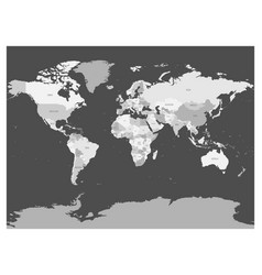 World map in four shades of grey on dark vector