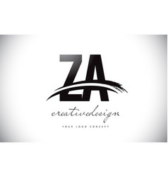 Za z a letter logo design with swoosh and black vector