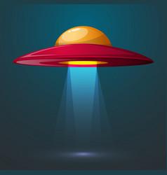 cartoon ufo bulb light vector image
